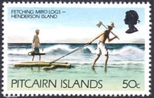 Pitcairn Islands # 171 mnh ~ 50¢ Gathering Miro Logs