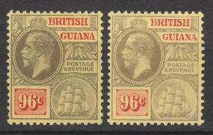 BRITISH GUIANA 1913 KGV SHIP 96C 2 DIFFERENT BACKS WMK MULTI CROWN CA