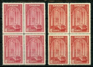 CANADA  1938 GEO VI HIGH VALUES  SCOTT#241/45 BLOCKS MINT NEVER HINGED OG