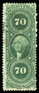 B557 U.S. Revenue Scott R65c 70c Foreign Exchange faint handstamp cancel