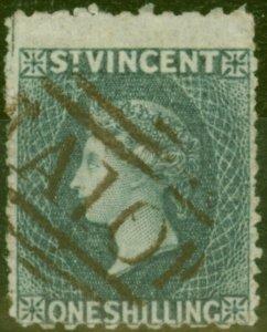St Vincent 1866 1s Slate-Grey SG11 P.11 x 13 Fine Used