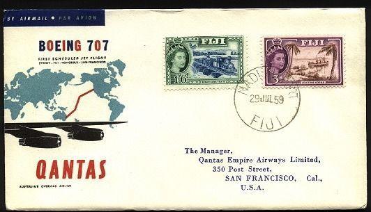 FIJI 1959 Qantas first flight cover to San Francisco....................71655W
