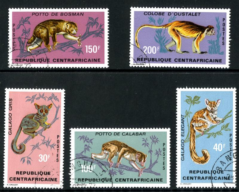 CENTRAL AFRICA 142-6 USED SCV $6.10 BIN $2.25 MONKEYS