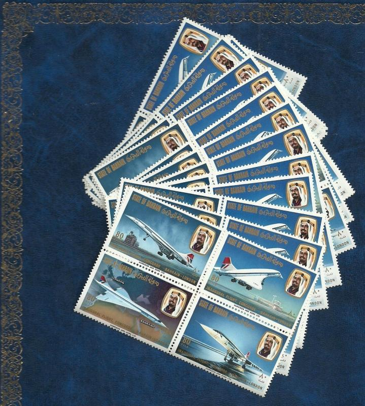 Bahrain1976 Lot #  78 -  MNH 18 sets Concorde 1st filght  London Bahrain