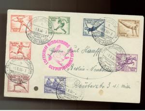 1936 Germany Hindenberg Zeppelin LZ 129 Olympics Cover comp set # B82-B89
