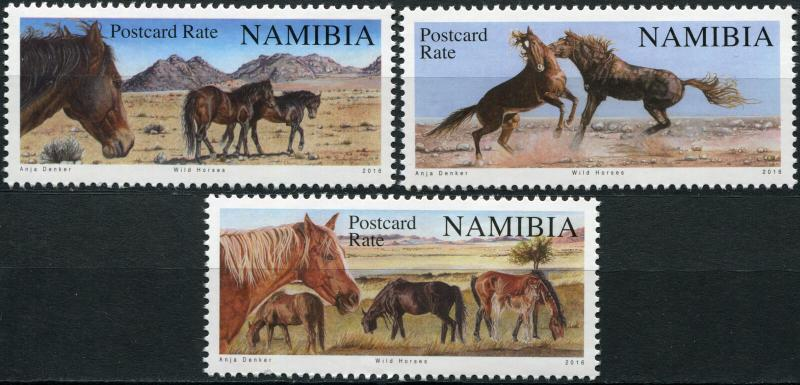 Namibia. 2016. Reprint. Wild horses of Namibia (MNH OG) Set of 3 stamps