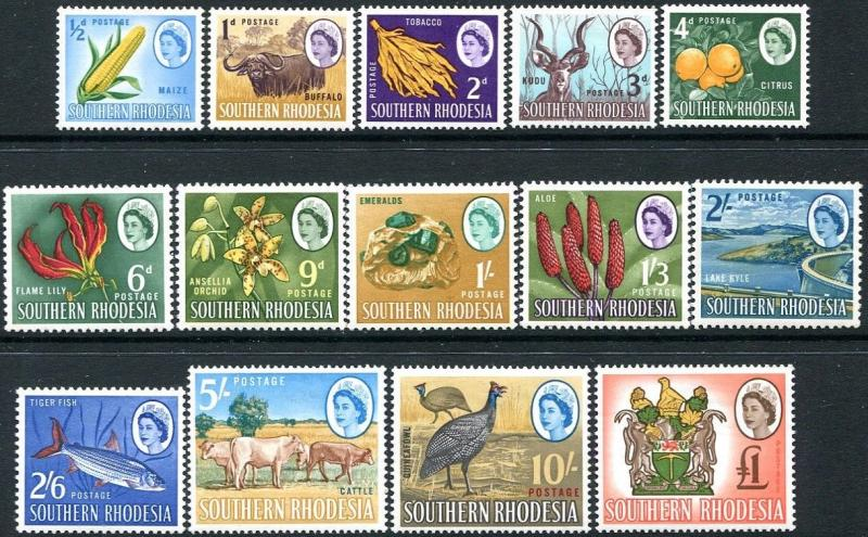 SOUTHERN RHODESIA-1964 Set to £1 Sg 92-105 LIGHTLY MOUNTED MINT V28236