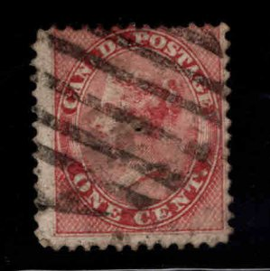 Canada Scott 14 Used 1859 y1c rose Victoria stamp  Pretty Filler Hole