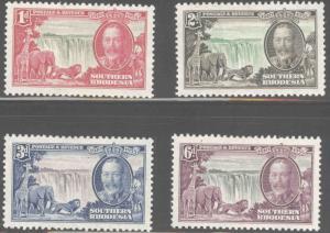Southern Rhodesia Scott 33-36 MH*  1935 silver jubilee set CV$29