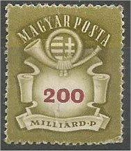 HUNGARY, 1946, MNH 200mird, Arms and Post Horn, Scott 758