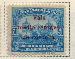 Nicaragua 1918-21 Early Issue Fine Used 1/2c. Surcharged 323637