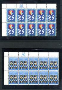 UN #322-323 Inscription Strip of Ten
