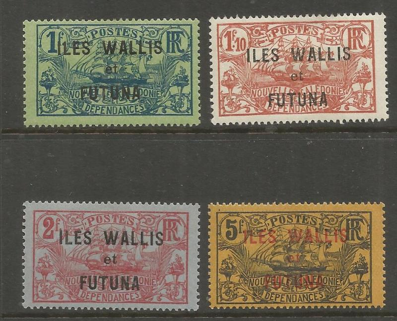 WALLIS & FUTUNA 25-28  MINT HINGED, NOS. 113, 115-116 OVPTD IN RED OR BLK