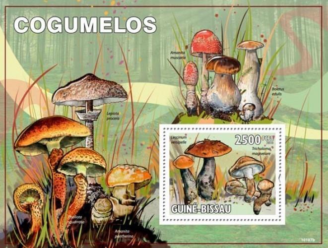 GUINE BISSAU 2010 SHEET MUSHROOMS CHAMPIGNONS SETAS COGUMELOS PILZEN gb10107b