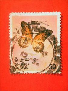 SRI LANKA, 1978, used, 50c, Butterflies. ?Cethosia nietneri?