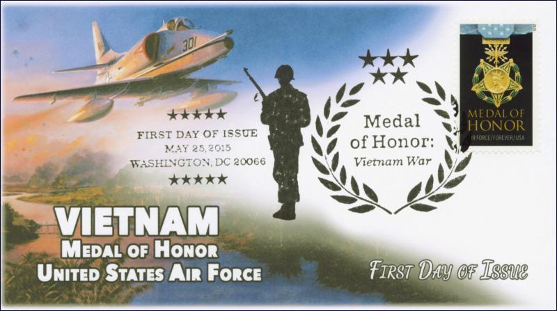 2015, Medal of Honor, Vietnam, Air Froce, B/W Pictorial, FDC, 15-134