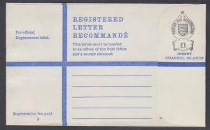 Jersey, £1 Size P Registered Envelope, unused & VF