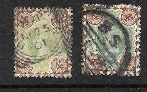 GB 1887 QV 4d BOTH SHADES   FU SG205/205a