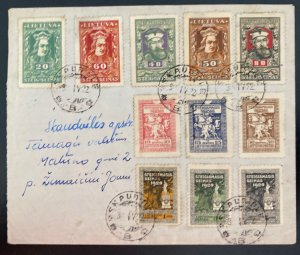 1922 Lithuania cover National Assembly Stamps Sc#81-91