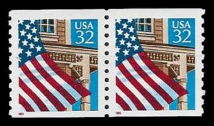 US #2913 Coil Pair 64c(2x32c)Flag over Porch, BEP, MNH, (PCB-3)