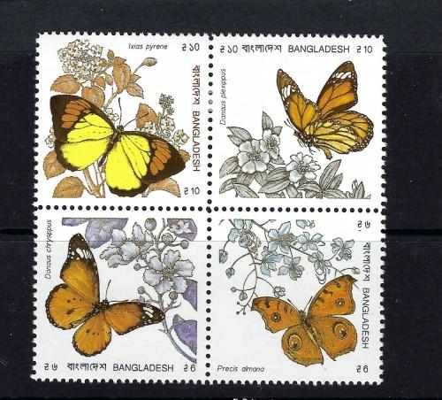 Bangladesh 383a Lightly Hinged 1990 Butterflies block of 4