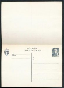 NORWAY Mi. P121 POSTAL STATIONERY POSTAL CARD 50o+50o PD REPLY GRAY