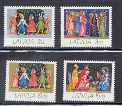 Latvia Sc 336-9 1992 Christmas stamp set NH
