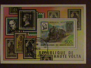 UPPER VOLTA -STAMP- 1979- TRAIN- STAMP ON STAMP- CTO NH S/S SHEET. LAST ONE