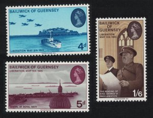 Guernsey 25th Anniversary of Liberation Warships Aviation 3v SG#33-35