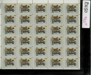 RW50 1983 FULL FEDERAL DUCK STAMP SHEET.   PLATE # 173765 TOP