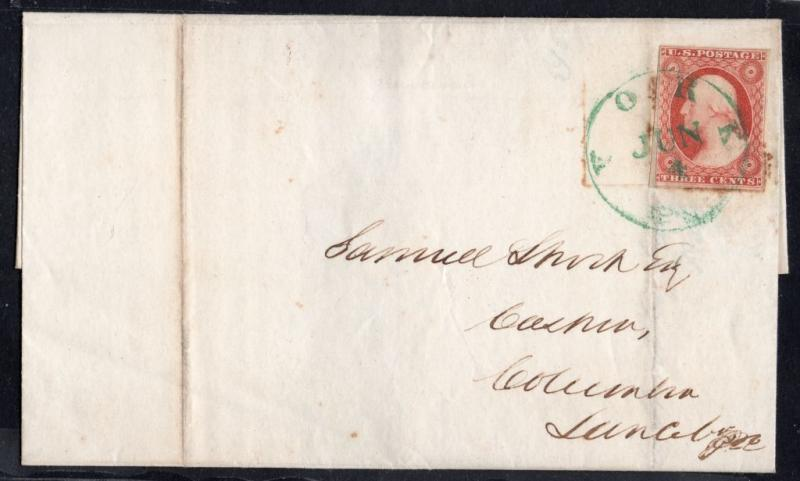 US Sc #11 Cover w/ Green YORK, PA Cancel