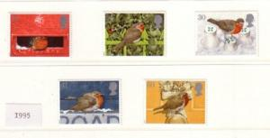 Great Britain Sc 1634-8 1995 Christmas Robins stamps mint NH