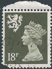 Great Britain: Scotland SMH34 (used, pulled corner) 18p Machin, ol grn (1987)