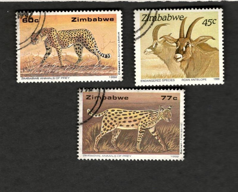 1989-92 Zimbabwe SC #657 #656 #599 ANIMALS OF PREY ENDANGERED SPECIES used stamp
