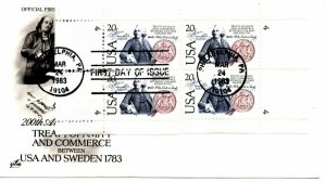 US FDC #2036 Sweden Matched Set Plate Singles, ArtCraft (9953)
