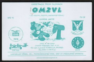 QSL CARD OM2VL,Laci,05,Mickey Mouse As Postal Worker, Slovakia (Q4434)