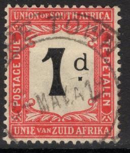 SOUTH AFRICA SGD2 1915 1d BLACK & SCARLET USED
