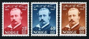 Norway 295-297, lightly hinged. Michel 340-342. Alexander Kielland, author.1949.