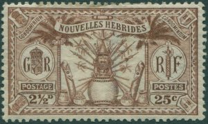 New Hebrides French 1925 SGF45 25c 2½d brown Weapons Idols MLH