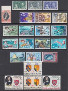 Turks & Caicos Sc 75//216 MLH/MNH. 1937-1970 issues, 4 complete sets, VF