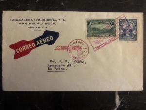 1933 San Pedro Sula Honduras Airmail Cover Tobacco Company  To La Ceiba
