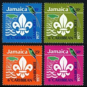 Jamaica 427-430, MNH. 6th Caribbean Jamboree. Scout Emblem, Doctor Bird, 1977