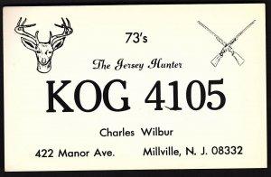 QSL QSO RADIO CARD Pic of Buck/Rifles/The Jersey Hunter/KOG 4105, NJ (Q2194)