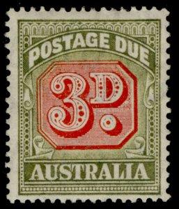 AUSTRALIA GVI SG D122, 3d carmine & green, M MINT.