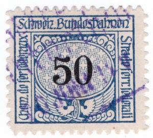 (I.B) Switzerland Railways : State Railways 50c (1913)