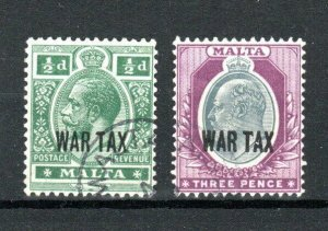 Malta 1917-18 1/2d and 3d WAR TAX opt FU CDS