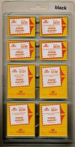 Prinz Scott Stamp Mount Assortment - BLACK  Pack of 320 (8 Sizes 40 each) PRECUT
