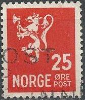 Norway 197A (used) 25ø lion rampant, scarlet (1946)