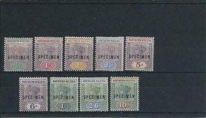 NORTHERN NIGERIA 1900 SET OF NINE OVERPRINTED SPECIMEN MM SG 1s/9s CAT £225