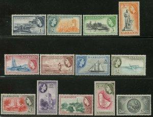 BARBADOS Sc#235-247 1953-57 QEII Pictorials Complete Set OG Mint LH